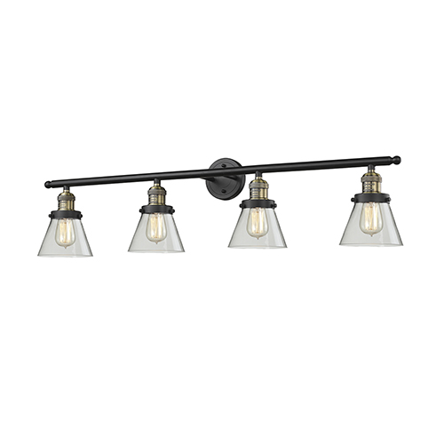 Small Cone Black Antique Brass Four-Light Bath Vanity with Clear Cone Glass