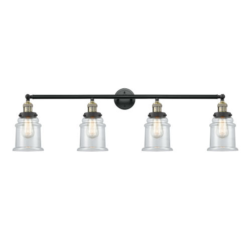 Canton Black Antique Brass Four-Light LED Bath Vanity with Clear Glass
