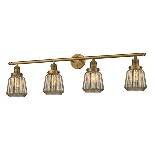 Chatham Brushed Brass Four-Light LED Bath Vanity with Mercury Fluted Novelty Glass