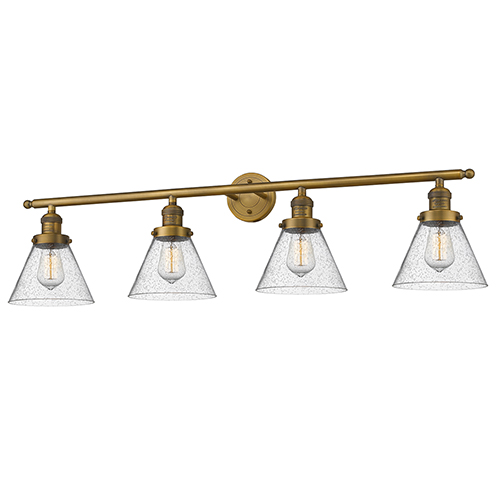 Large Cone Brushed Brass Four-Light Bath Vanity with Seedy Cone Glass