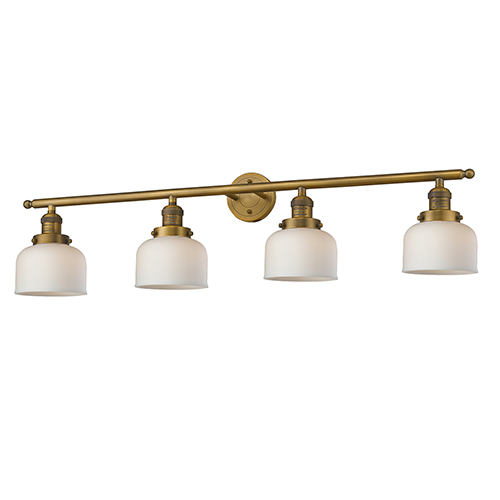 Large Bell Brushed Brass Four-Light Bath Vanity with Matte White Cased Dome Glass