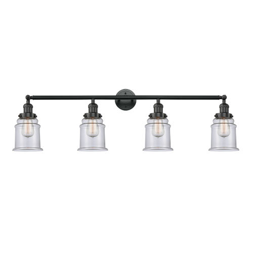 Franklin Restoration Matte Black 42-Inch Four-Light Bath Vanity with Clear Canton Shade
