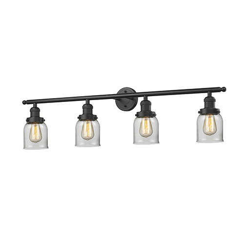 Small Bell Oiled Rubbed Bronze Four-Light LED Bath Vanity with Clear Bell Glass