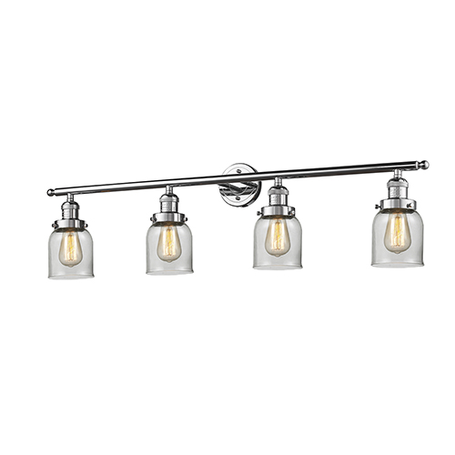 Small Bell Polished Chrome Four-Light Bath Vanity with Clear Bell Glass
