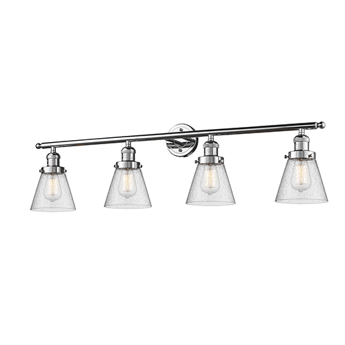 Small Cone Polished Chrome Four-Light Bath Vanity with Seedy Cone Glass