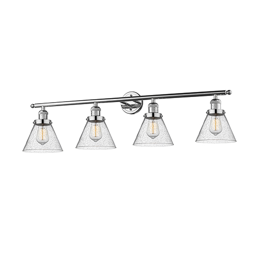 Large Cone Polished Nickel Four-Light LED Bath Vanity with Seedy Cone Glass
