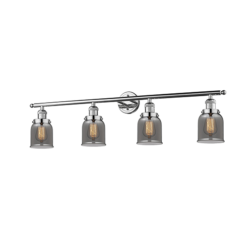 Small Bell Polished Nickel Four-Light LED Bath Vanity with Smoked Bell Glass