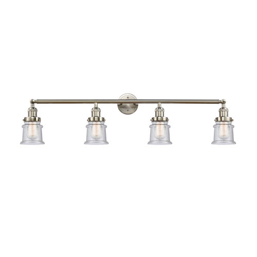 Franklin Restoration Brushed Satin Nickel 42-Inch Four-Light LED Bath Vanity with Seedy Canton Shade