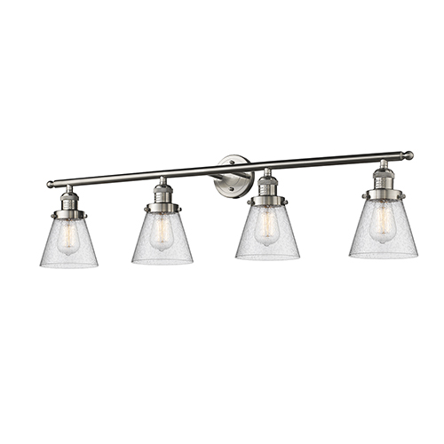 Small Cone Brushed Satin Nickel Four-Light Bath Vanity with Seedy Cone Glass