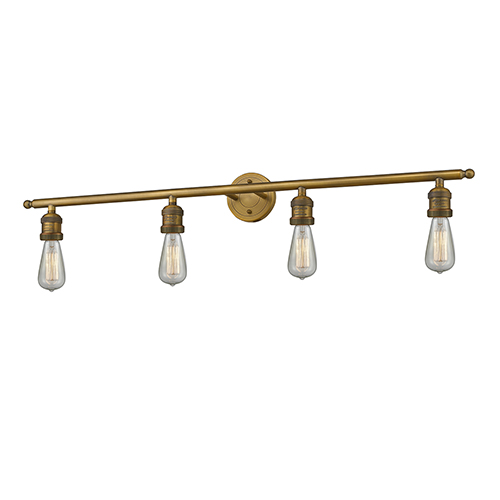 Innovations Lighting Bare Bulb Brushed Brass Four-Light Reversible Bath Vanity