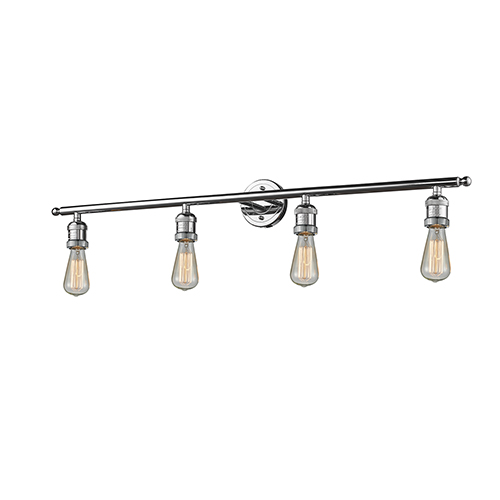 Innovations Lighting Bare Bulb Polished Chrome Four-Light Reversible Bath Vanity