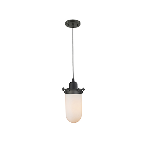 Innovations Lighting Centri Oiled Rubbed Bronze Five-Inch One-Light Mini Pendant with Matte White Cased Globe Glass