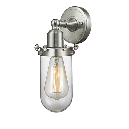 Centri Brushed Satin Nickel One-Light Wall Sconce with Clear Globe Glass