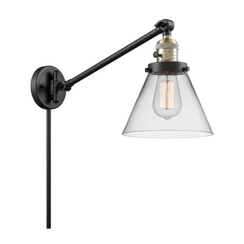 Large Cone Black Antique Brass LED Swing Arm Wall Sconce with Clear Glass