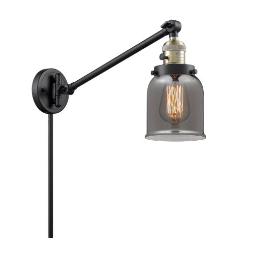 Franklin Restoration Matte Black Antique Brass Eight-Inch One-Light Swing Arm Wall Sconce with Plated Smoke Glass Shade