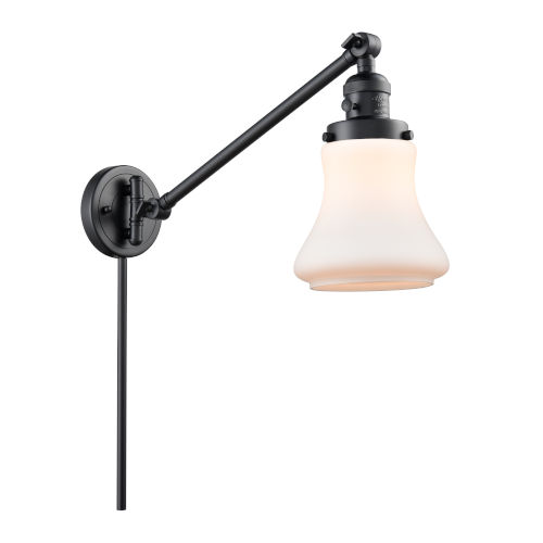 Franklin Restoration Matte Black Eight-Inch One-Light Swing Arm Wall Sconce with Matte White Bellmont Shade and Molded Plug