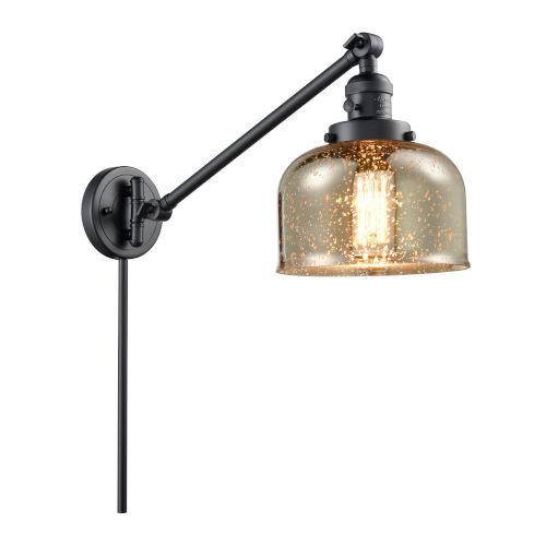 Franklin Restoration Matte Black Eight-Inch One-Light Swing Arm Wall Sconce with Silver Plated Mercury Glass Shade