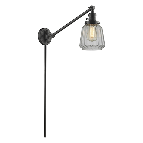 Innovations Lighting Chatham Oiled Rubbed Bronze 25-Inch One-Light Swing Arm Wall Sconce with Clear Fluted Novelty Glass