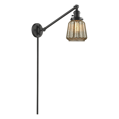 Innovations Lighting Chatham Oiled Rubbed Bronze 25-Inch One-Light Swing Arm Wall Sconce with Mercury Fluted Novelty Glass