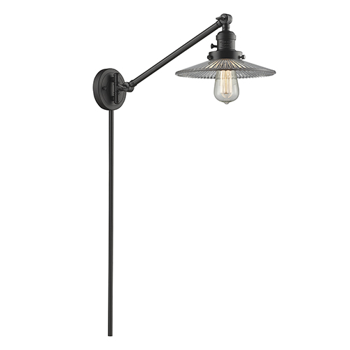 Innovations Lighting Halophane Oiled Rubbed Bronze 25-Inch One-Light Swing Arm Wall Sconce with Halophane Cone Glass