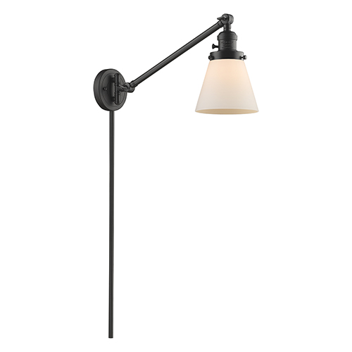 Innovations Lighting Small Cone Oiled Rubbed Bronze 25-Inch LED Swing Arm Wall Sconce with Matte White Cased Cone Glass