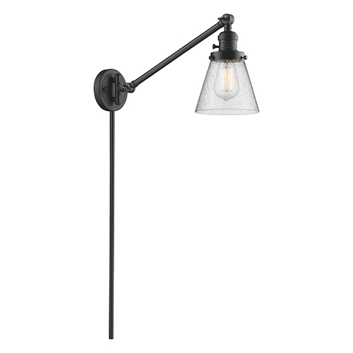 Innovations Lighting Small Cone Oiled Rubbed Bronze 25-Inch One-Light Swing Arm Wall Sconce with Seedy Cone Glass