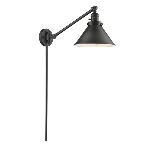 Briarcliff Oiled Rubbed Bronze 25-Inch One-Light Swing Arm Wall Sconce with Oil Rubbed Bronze Metal Shade