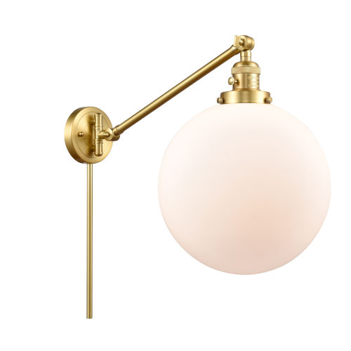 Franklin Restoration Satin Gold 12-Inch One-Light Swing Arm Wall Sconce with Matte White Glass Shade