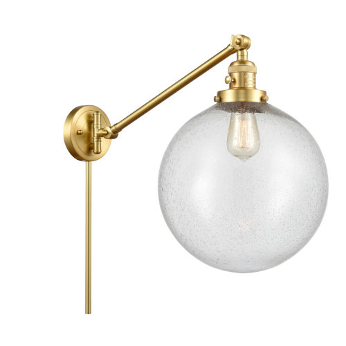 Franklin Restoration Satin Gold 12-Inch One-Light Swing Arm Wall Sconce with Seedy Glass Shade