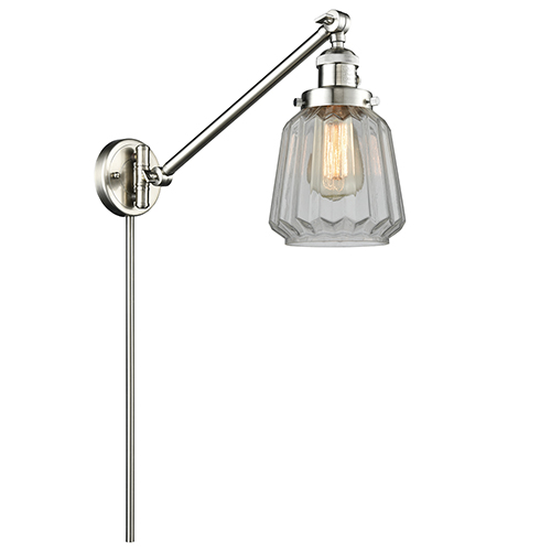 Innovations Lighting Chatham Brushed Satin Nickel 25-Inch One-Light Swing Arm Wall Sconce with Clear Fluted Novelty Glass