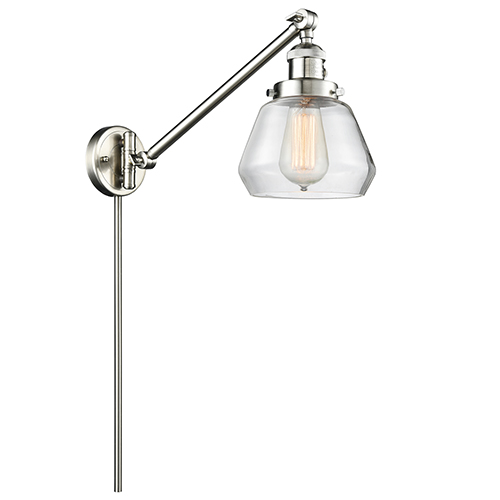 Innovations Lighting Fulton Brushed Satin Nickel 25-Inch One-Light Swing Arm Wall Sconce with Clear Sphere Glass