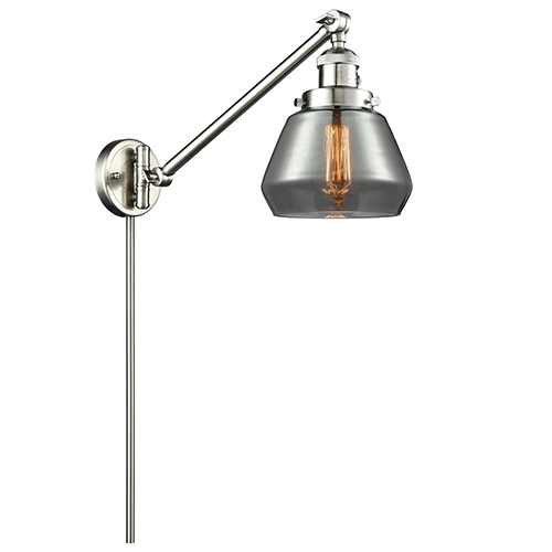 Innovations Lighting Fulton Brushed Satin Nickel 25-Inch LED Swing Arm Wall Sconce with Smoked Sphere Glass