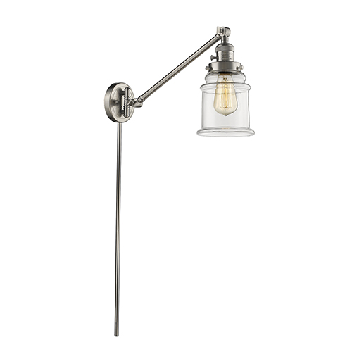 Canton Brushed Satin Nickel 25-Inch One-Light Swing Arm Wall Sconce with Clear Bell Glass