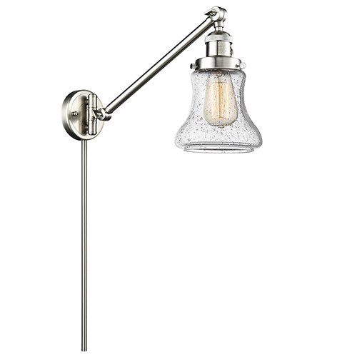 Innovations Lighting Bellmont Brushed Satin Nickel 25-Inch One-Light Swing Arm Wall Sconce with Seedy Hourglass Glass