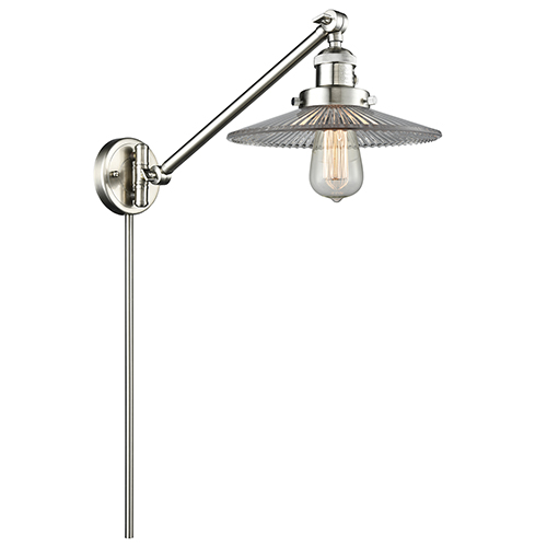 Innovations Lighting Halophane Brushed Satin Nickel 25-Inch One-Light Swing Arm Wall Sconce with Halophane Cone Glass