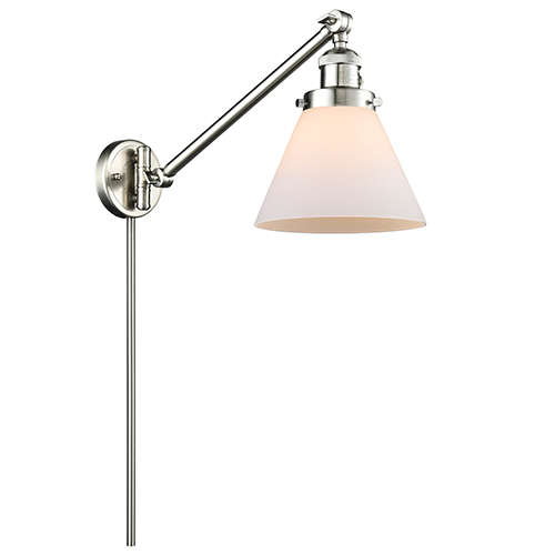 Large Cone Brushed Satin Nickel 25-Inch One-Light Swing Arm Wall Sconce with Matte White Cased Cone Glass
