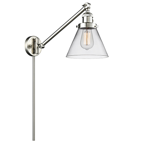 Large Cone Brushed Satin Nickel 25-Inch One-Light Swing Arm Wall Sconce with Clear Cone Glass