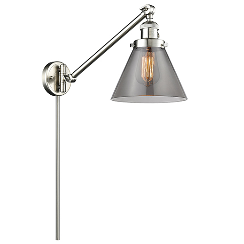 Large Cone Brushed Satin Nickel 25-Inch One-Light Swing Arm Wall Sconce with Smoked Cone Glass