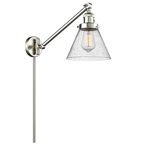 Innovations Lighting Large Cone Brushed Satin Nickel 25-Inch LED Swing Arm Wall Sconce with Seedy Cone Glass