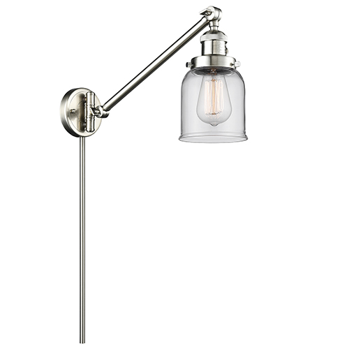 Small Bell Brushed Satin Nickel 25-Inch One-Light Swing Arm Wall Sconce with Clear Bell Glass