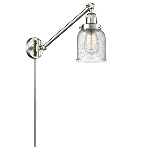 Innovations Lighting Small Bell Brushed Satin Nickel 25-Inch LED Swing Arm Wall Sconce with Seedy Bell Glass