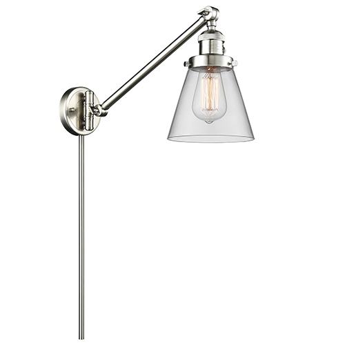Small Cone Brushed Satin Nickel 25-Inch One-Light Swing Arm Wall Sconce with Clear Cone Glass