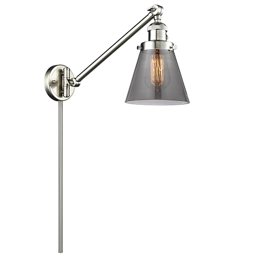 Small Cone Brushed Satin Nickel 25-Inch One-Light Swing Arm Wall Sconce with Smoked Cone Glass