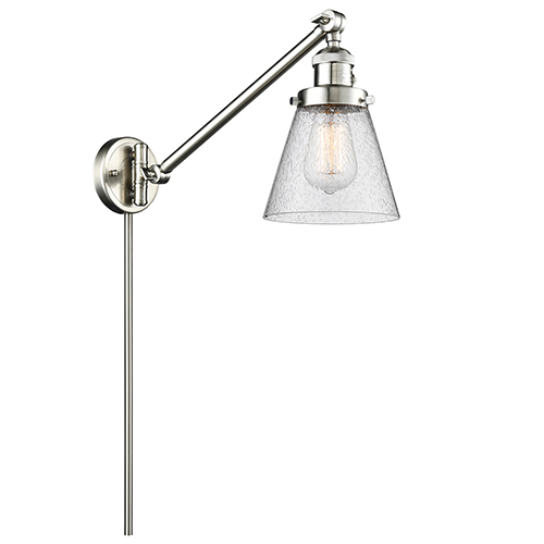 Innovations Lighting Small Cone Brushed Satin Nickel 25-Inch One-Light Swing Arm Wall Sconce with Seedy Cone Glass