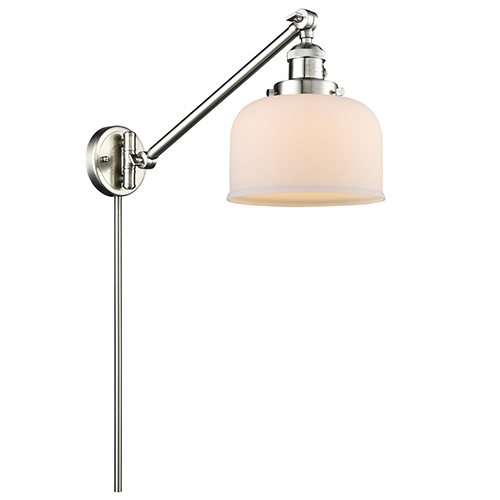 Innovations Lighting Large Bell Brushed Satin Nickel 25-Inch One-Light Swing Arm Wall Sconce with Matte White Cased Dome