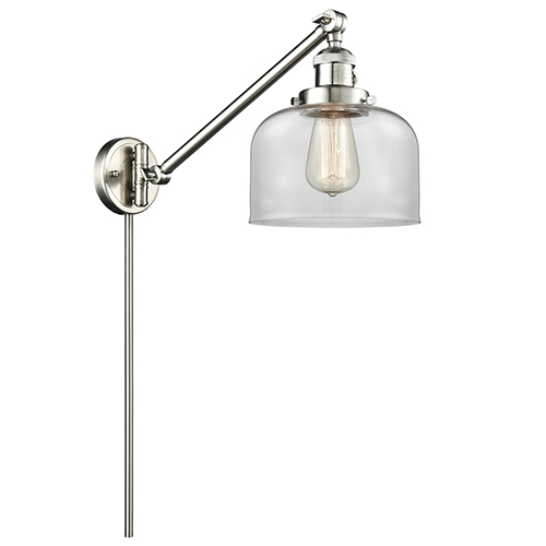 Innovations Lighting Large Bell Brushed Satin Nickel 25-Inch One-Light Swing Arm Wall Sconce with Clear Dome Glass