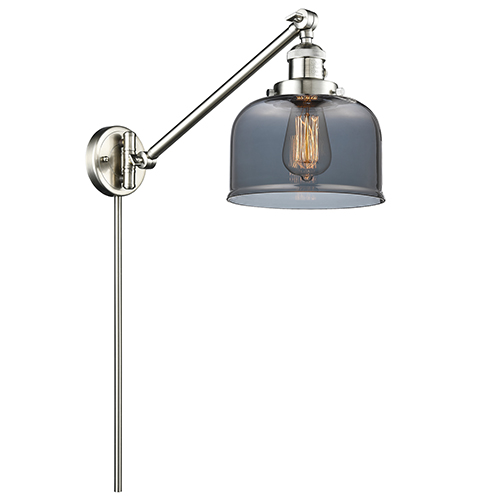Innovations Lighting Large Bell Brushed Satin Nickel 25-Inch One-Light Swing Arm Wall Sconce with Smoked Dome Glass