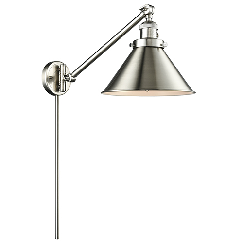 Briarcliff Brushed Satin Nickel 25-Inch One-Light Swing Arm Wall Sconce