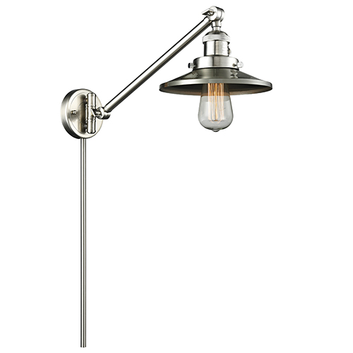 Innovations Lighting Railroad Brushed Satin Nickel 25-Inch One-Light Swing Arm Wall Sconce