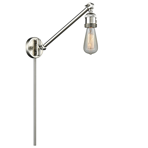 Bare Bulb Brushed Satin Nickel 25-Inch One-Light Swing Arm Wall Sconce